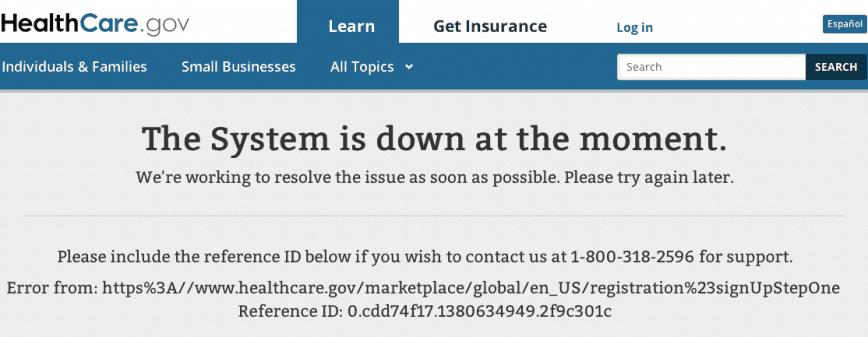 healthcare.gov down