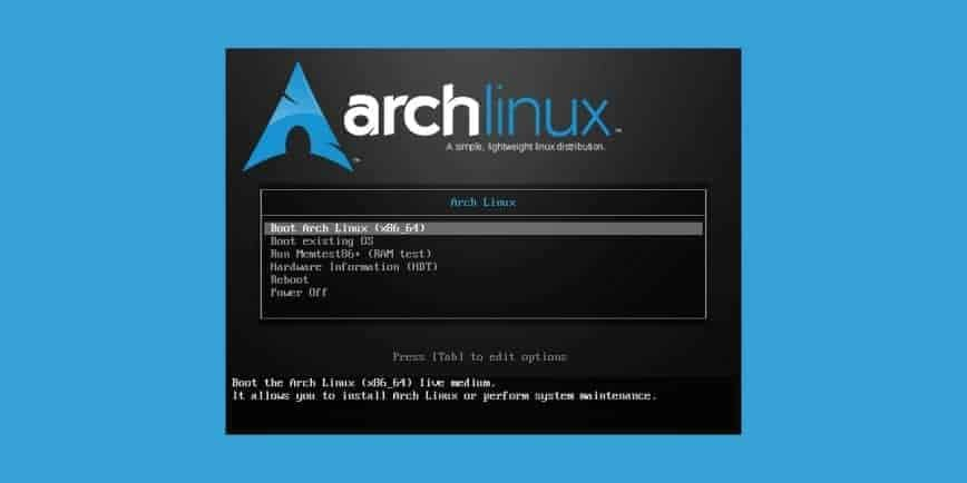 Arch Linux Boot Menu