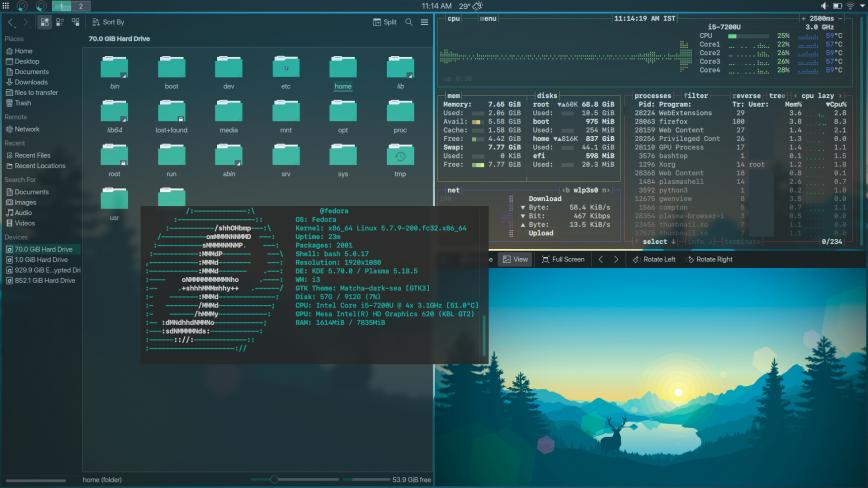 fedora + KDE + i3