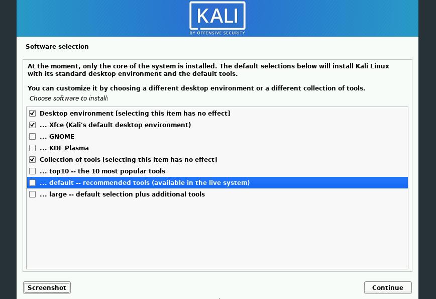 Kali Linux install: no tools