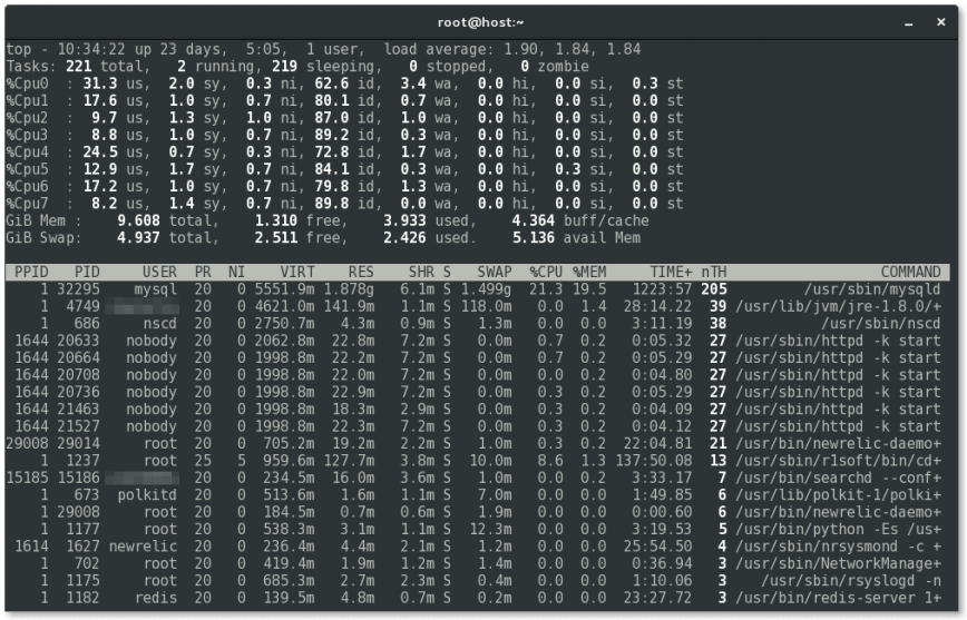 Linux top - after customization