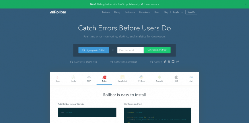 Rollbar Error Tracking Software for Ruby Python JavaScript more