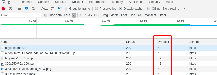 google chrome inspect network http/2 (h2) check