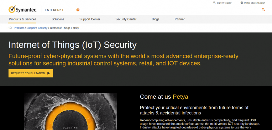 Symantec for IoT - securing IOT devices.