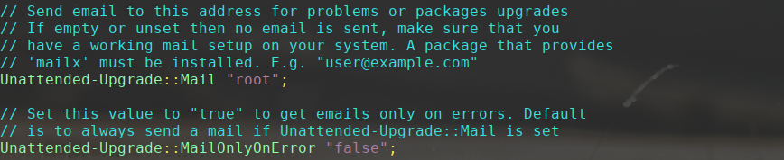 unattended upgrades mail