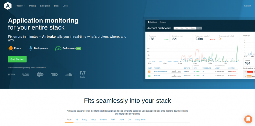 Full-stack Application Monitoring Software Airbrake