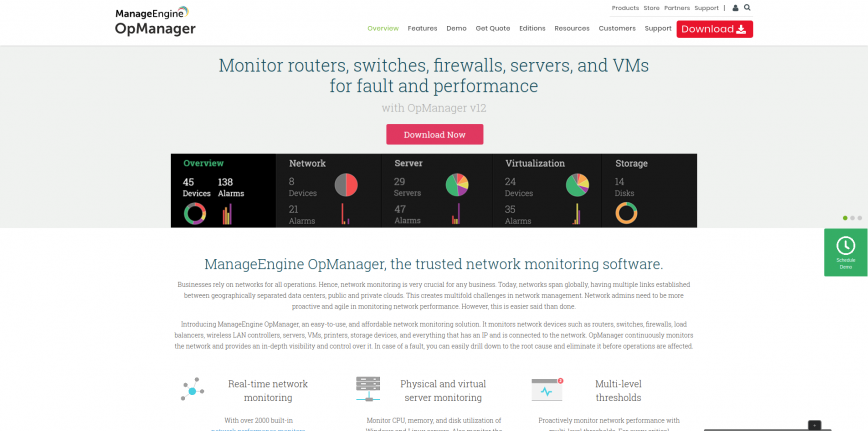 Network Monitoring Software Network Monitoring Solutions – ManageEngine OpManager