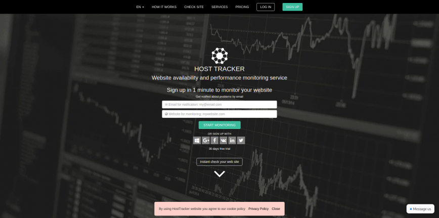 Website uptime monitoring service check is site down - Host-tracker