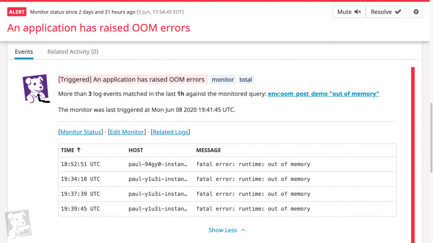 An alert based on OOM error logs.
