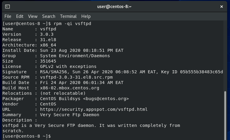 check if vsftpd is installed