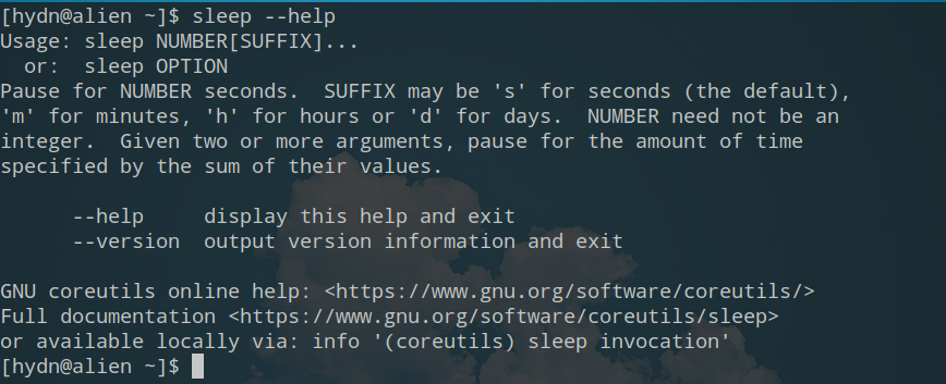 sleep unix linux help