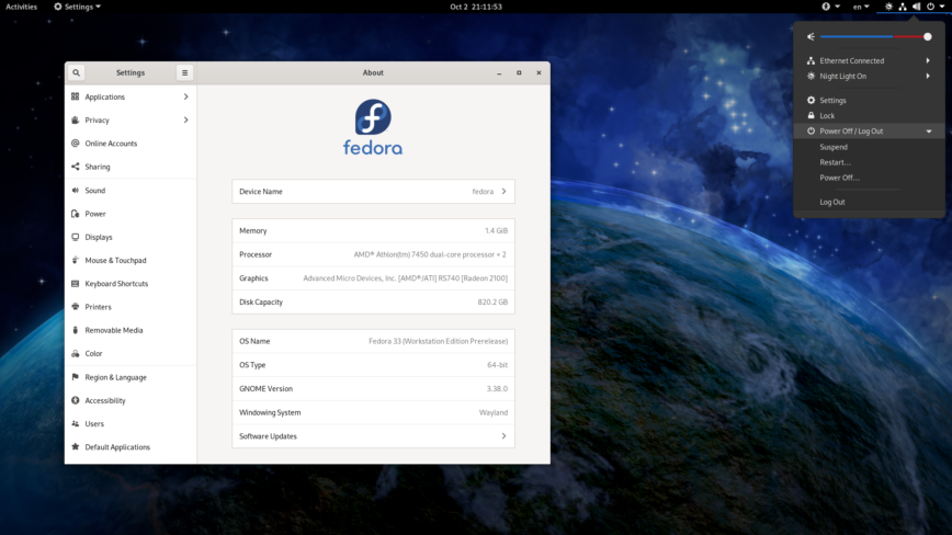 Fedora 33 with GNOME 3.38